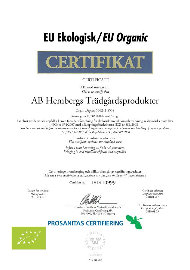 Certifikat EU Eko t.o.m 2019-08-25