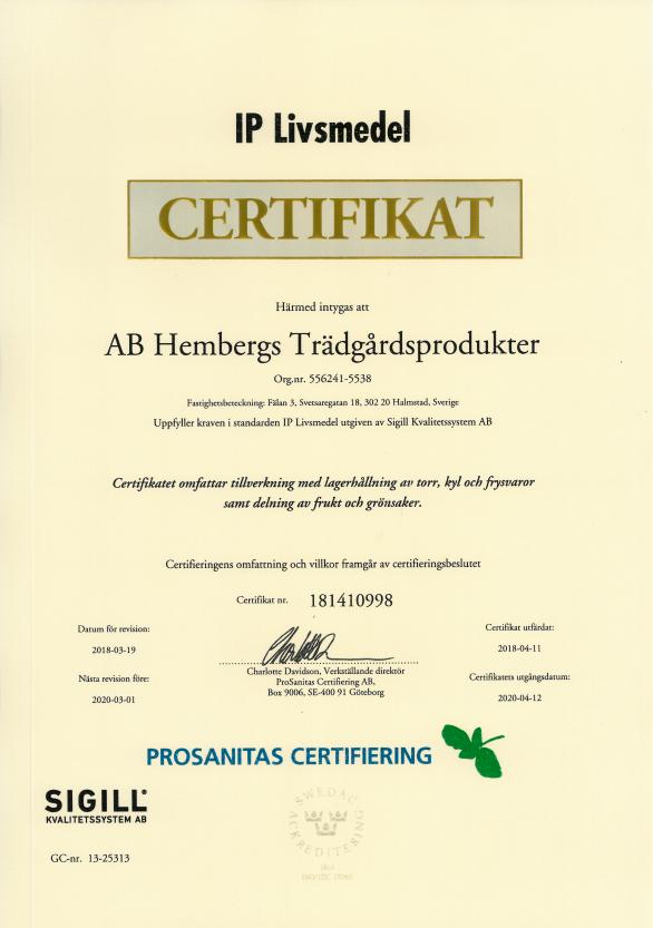 Certifikat IP Livsmedel 2018-04-11-2020-04-12